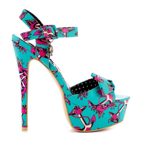iron me now turquoise rockabilly high heel