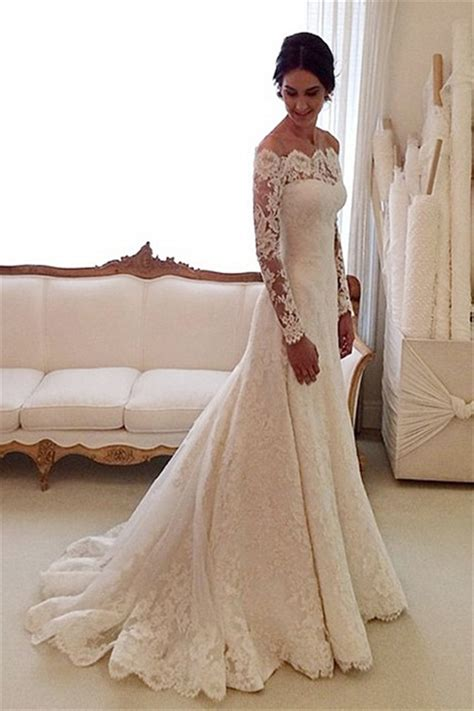 Wedding Dress The Shoulder by White The Shoulder Lace Sleeve Bridal Gowns