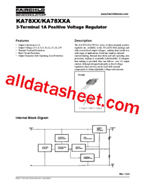 ka7805 datasheet pdf fairchild semiconductor