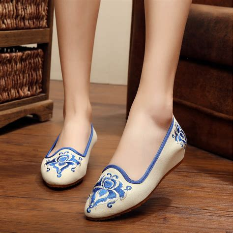 Flat Shoes Ethnic Motive Black White Sh005 2 yrzb ethnic embroidery skidproof canvas wedge flats shoes