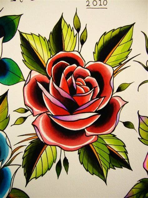 traditonal rose tattoo school tats roses retro