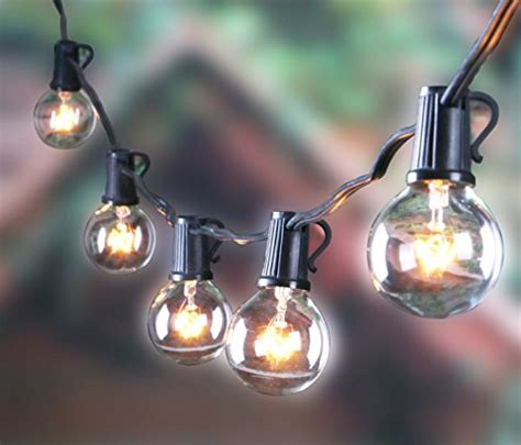 Vintage Patio String Lights 25ft Outdoor G40 Globe String Lights Vintage Backyard Patio Lights With 25 Clear Bulbs For