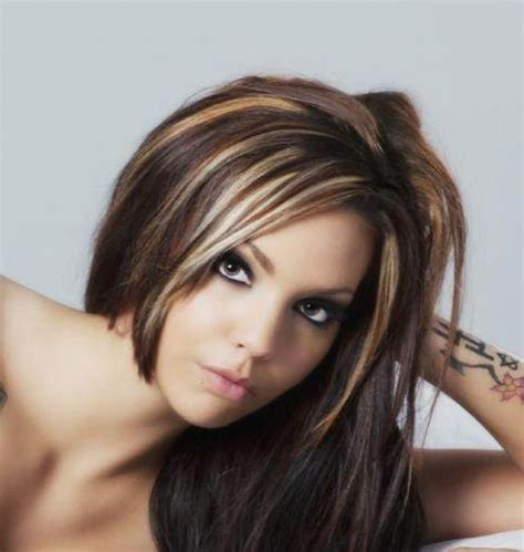 dark hair underneath with blonde highlights on top dark brown hair with caramel highlights hair and beauty
