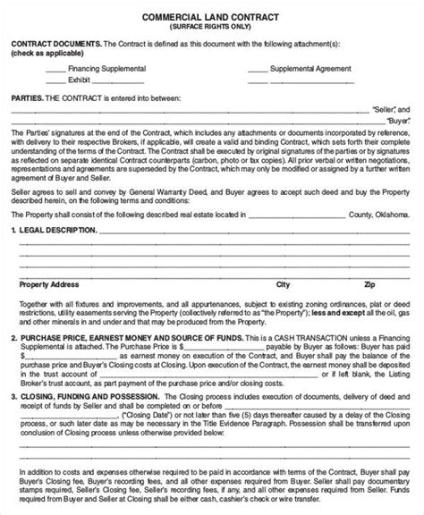 contract for sale of land template 9 land contract templates free word pdf format