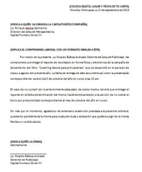 carta modelo de compromiso laboral carta compromiso laboral gt formatos y ejemplos milformatos