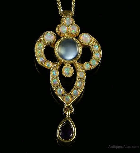 antiques atlas opal moonstone amethyst pendant and necklace