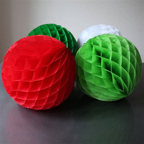 Tissue Paper Balls - four large paper tissue balls 30cm by pearl and