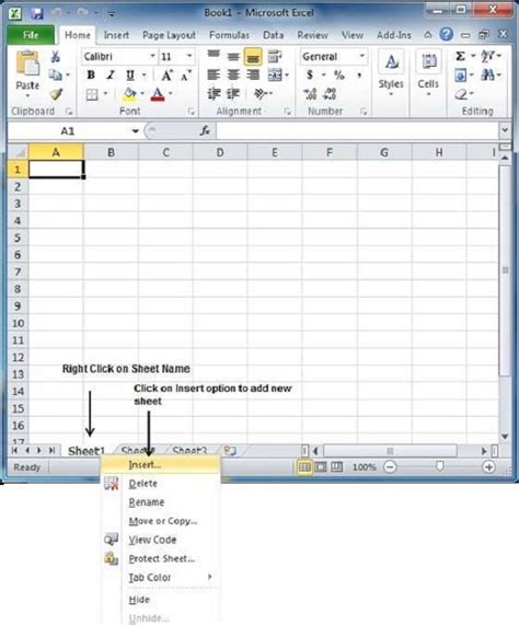how to select sheets create worksheet in excel 2010