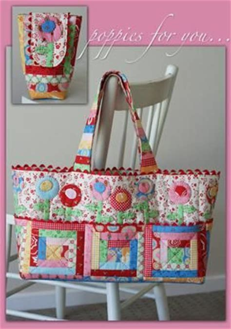 Patchwork And Quilting Supplies - poppies for you by janelle wind bag pattern 15 00