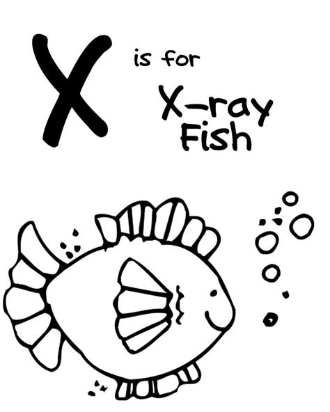 We Love Being Moms Letter X X Ray Fish X Fish Coloring Page