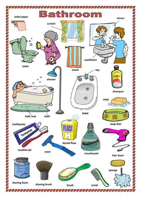 bathroom things names bathroom worksheet free esl printable worksheets made by