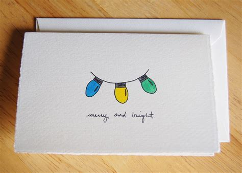 cute christmas card simple christmas lights drawing merry  bright christmas christmas