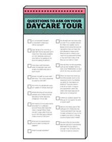 15 questions to ask on your daycare tour printable