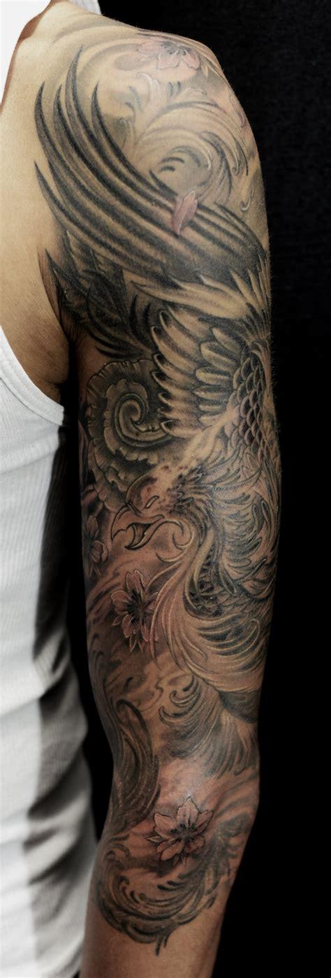 black and grey phoenix tattoo designs 36 black and grey full sleeve tattoos
