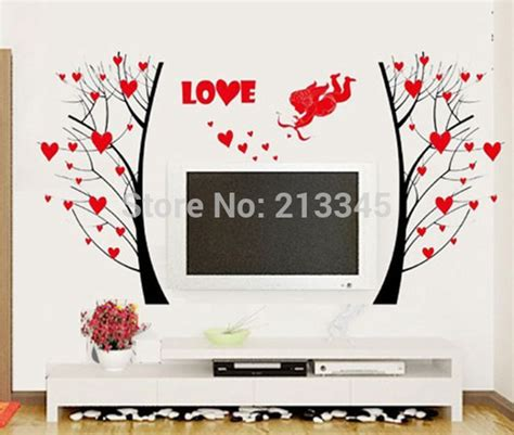 fashion red love heart wall stickers home decor life tree saturday monopoly diy wall stickers home decor angel