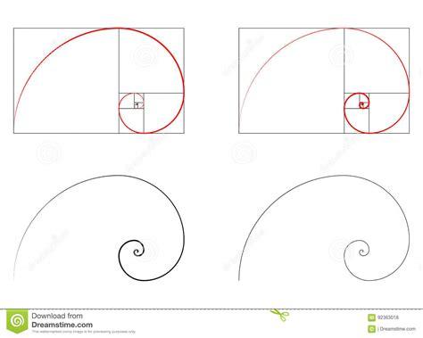 section formula vectors golden ratio spiral section set stock vector