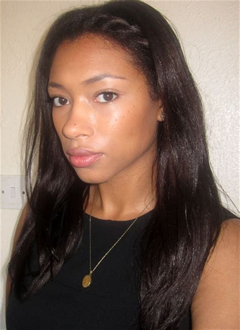 hairstyles for straight permed hair straight relaxed hair with braid at the front to learn