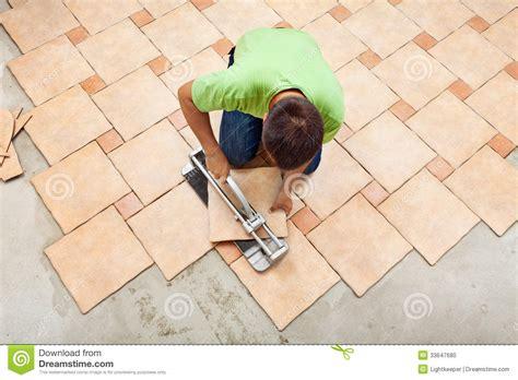 Bathroom Layout Design Tool Man Laying Ceramic Floor Tiles Stock Photo Image 33647680