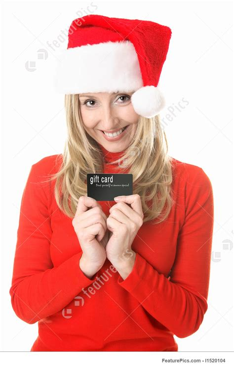 A Gift Card Santa - christmas shopping santa girl with a gift card image