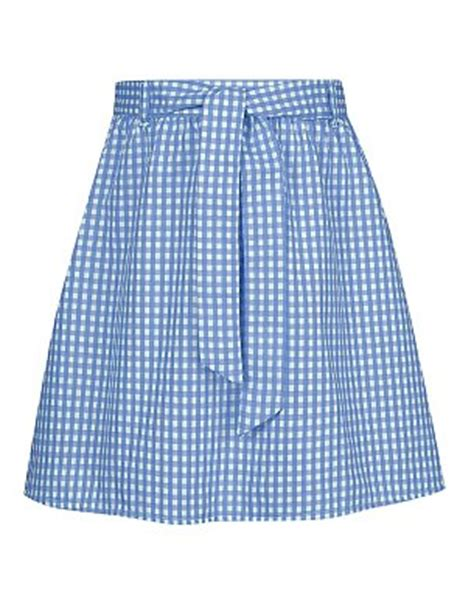 belted gingham skirt blue school george at asda