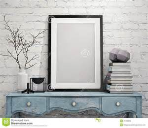 Home Interior Picture Frames mock up poster frame on vintage chest of drawers interior