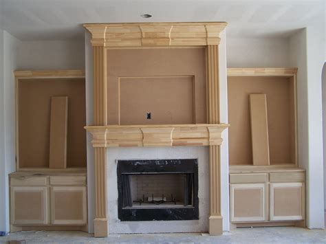 fireplace mantel with bookcases