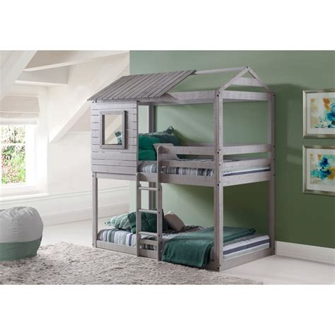 Grey Bunk Beds Donco Loft Style Light Grey Bunk Bed Free Shipping Today Overstock