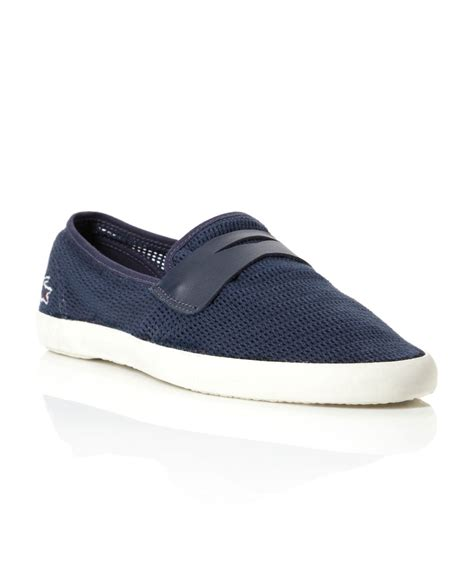 lacoste loafers sale lacoste himos 7 mesh saddle loafers in blue for navy
