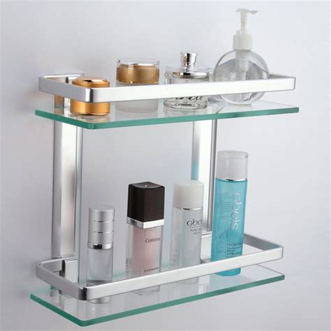 Kes Aluminum Bathroom Glass Rectangular Shelf Wall Mounted Glass Bathroom Shelving