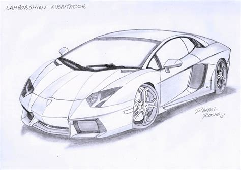 Drawings Of Lamborghinis Lamborghini Aventador By Rafael Rocha7 On Deviantart