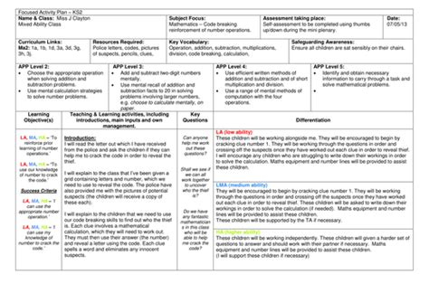 lesson plan template ks2 maths amazing code breaking problem solving ofsted maths lesson