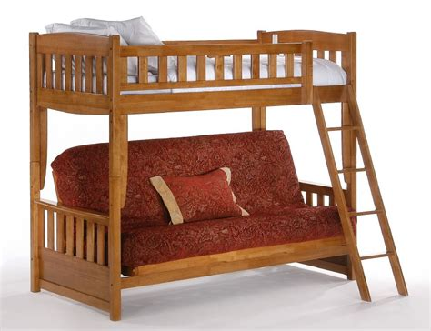 futon double bunk bed night and day cinnamon twin over futon bunk bed in medium oak