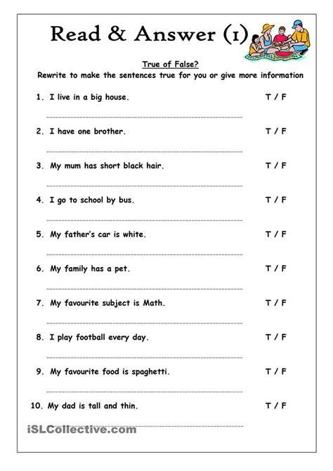 read answer 1 true or false language esl