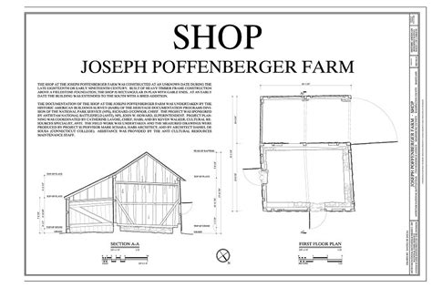 farm shop floor plans first floor plan and section joseph poffenberger farm
