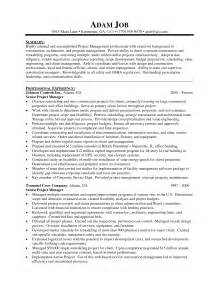 construction resume sle free resume sle project management resume sles free