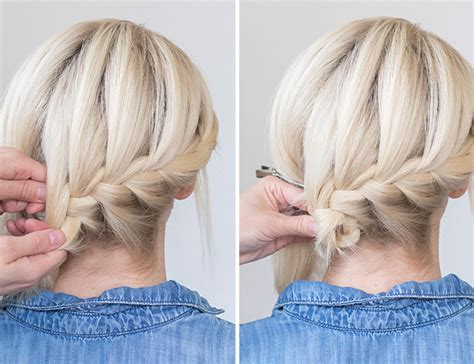 images of french plaits behind each ear hair how to tucked braid updo inspired by this