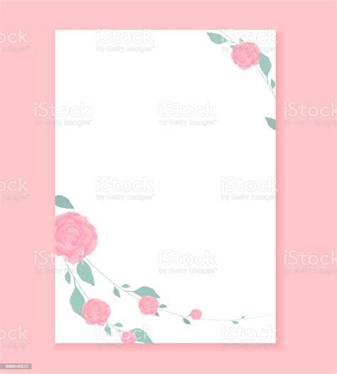 love letter blank template rose flower pattern