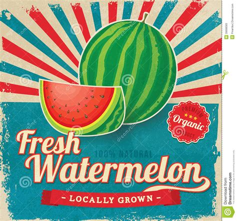 Colorful Vintage Watermelon Label Poster Stock Vector   Image: 39698583