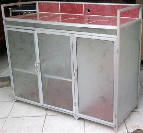 Rak Kompor Aluminium jual meja kompor 3 pintu rak piring dapur model rata