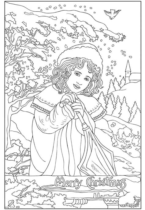 vintage christmas coloring page pretty christmas card colour me pinterest