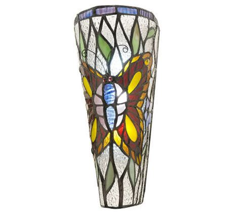 Stained Glass Wall Sconce Stained Glass Battery Operated 11 Inch Wall Sconce Qvc