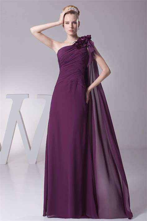 elegant  shoulder folded chiffon evening dress  grape