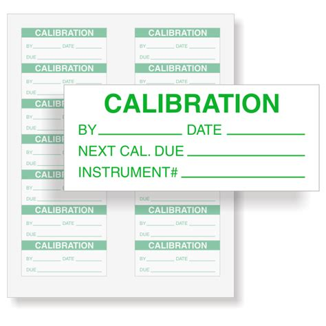 printable calibration stickers calibration instrument calibration labels green on white