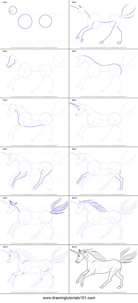 free how to draw how to draw a unicorn printable step by step drawing sheet