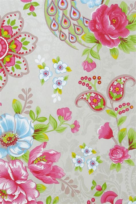 pip ii behang eijffinger flowers in the mix khaki 313052