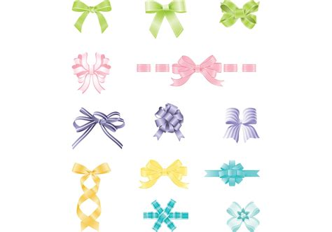 colorful bows colorful bows and ribbon vector pack free