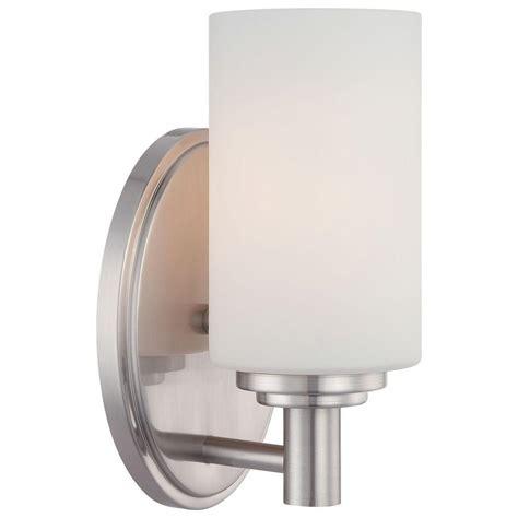 Sconces Bathroom Lighting The Home Depot Bath Sconces Chrome Home Lighting Ideas Lighting Pittman 1 Light Brushed Nickel Bath Vanity Light 190023217 The Home Depot