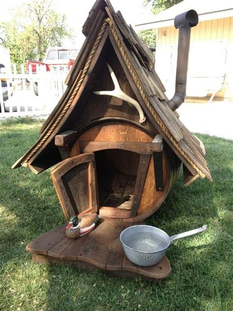 dog house barrel handcrafted hunting lodge wine barrel dog house by rengineering101 dog houses