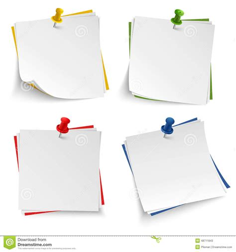 note paper with push colored pin template stock vector