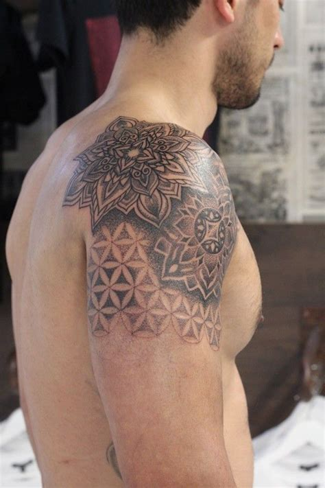 electronic inspired blackwork sleeve tattoo artist woodfarm subject mandala with flower of